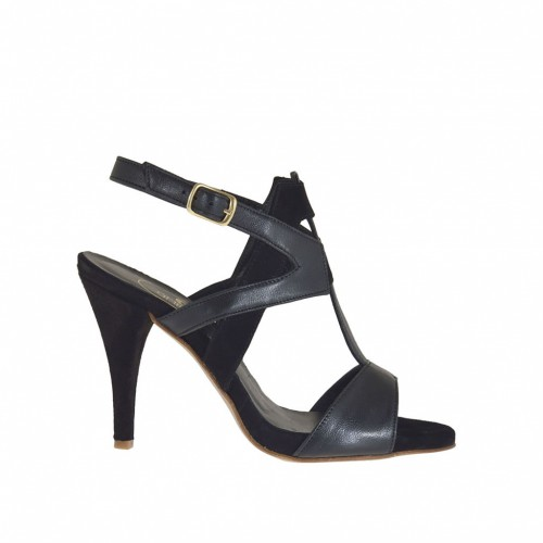 Woman's sandal with crossed straps and platform in black leather and suede heel 8 - Available sizes:  31, 42, 43, 46, 47