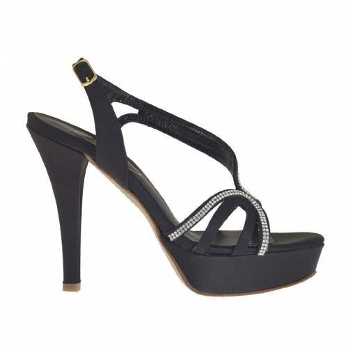 Sandale pour femmes avec strass et plateforme en satin noir talon 10 - Pointures disponibles:  31, 32, 33, 34, 42, 43, 44, 45, 46, 47