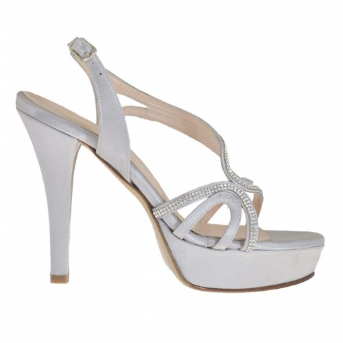 Woman's strappy sandal with platform and strass in wisteria grey satin heel 10 - Available sizes:  31, 32, 33, 34, 42, 43, 44, 45, 46, 47
