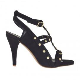 Sandalo da donna con plateau, borchie e cinturino in camoscio nero tacco 8 - Misure disponibili: 31, 32, 33, 34, 42, 43, 46, 47