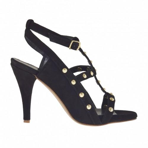 Sandale pour femmes avec plateforme, courroie et goujons en daim noir talon 8 - Pointures disponibles:  32, 34, 42, 43, 46, 47