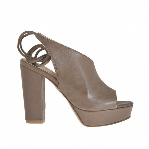 Woman's high-fronted sandal with platform and back laces in taupe leather heel 10 - Available sizes:  42, 43, 44, 46, 47