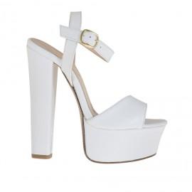 Sandalo da donna a fascia con plateau in pelle bianca tacco 13 - Misure disponibili: 34, 43