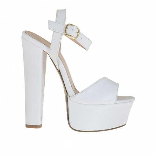 Woman's one band sandal with platform in white leather with heel 13 - Available sizes:  34, 43