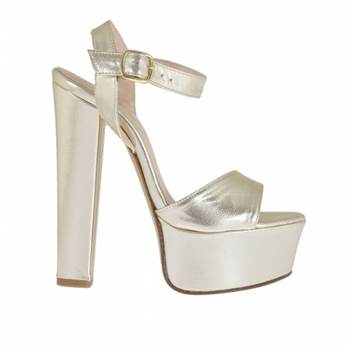 Woman's one band sandal with platform in laminated platinum leather with heel 13 - Available sizes:  42, 43