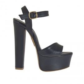 Sandalo da donna a fascia con plateau in pelle nera tacco 13 - Misure disponibili: 42, 43