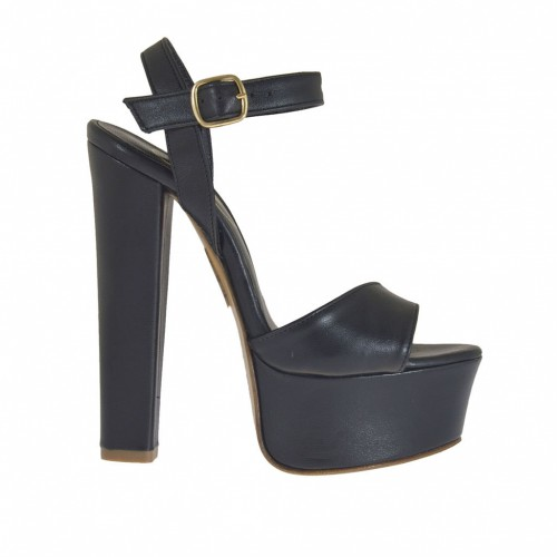 Woman's one band sandal with platform in black leather with heel 13 - Available sizes:  42
