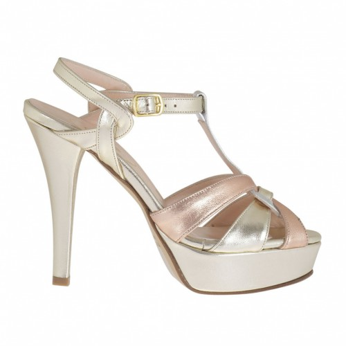 Woman's sandal with crossed straps and platform in laminated platinum and copper-coloured leather heel 10 - Available sizes:  46