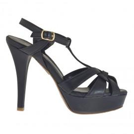 Sandalo da donna con listini incrociati e plateau in pelle nera tacco 10 - Misure disponibili: 42, 44, 47