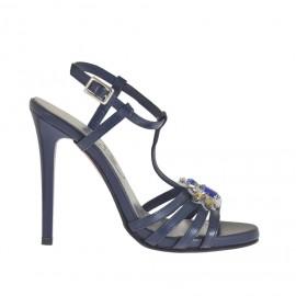 Sandalo da donna modello Charleston con cinturino, listini, strass e plateau in pelle blu con tacco verniciato 11 - Misure disponibili: 32, 33, 42, 45, 46