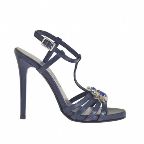 Woman's T-strap platform sandal with strass in blue leather with varnished heel 11 - Available sizes:  42