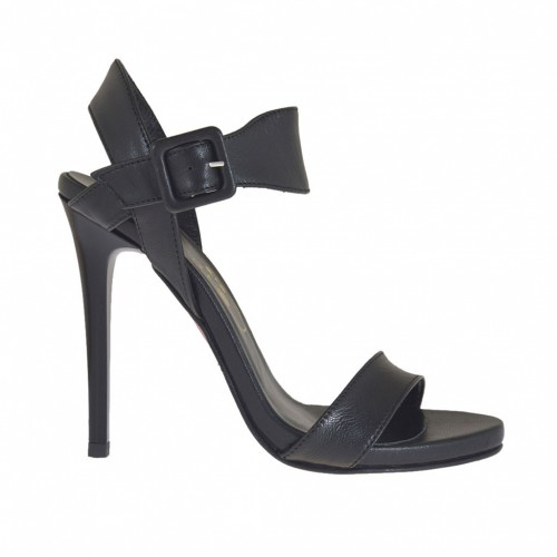 Woman's strap sandal with platform in black leather with varnished heel 10 - Available sizes:  42