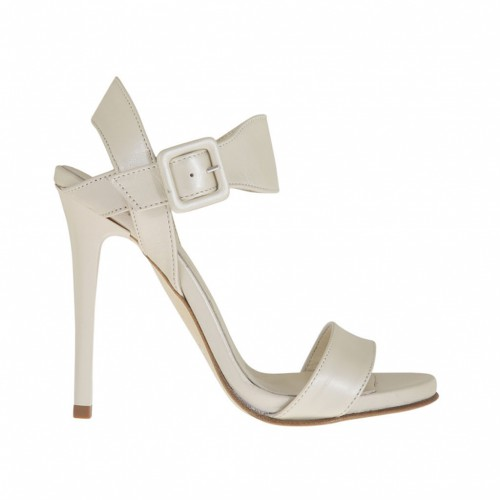 Woman's strap sandal with platform in pearled ivory leather with varnished heel 10 - Available sizes:  42