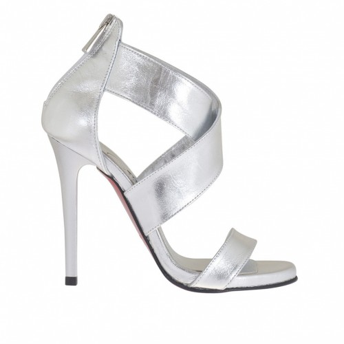Woman's open platform pump with crossed straps and zipper in silver laminated leather heel 10 - Available sizes:  44