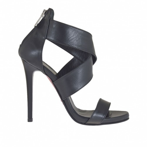 Woman's open platform pump with crossed straps and zipper in black leather heel 10 - Available sizes:  42