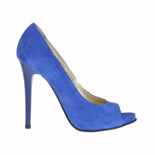 Escarpin ouvert pour femmes en daim bleu electrique avec plateforme et talon 10 - Pointures disponibles:  42