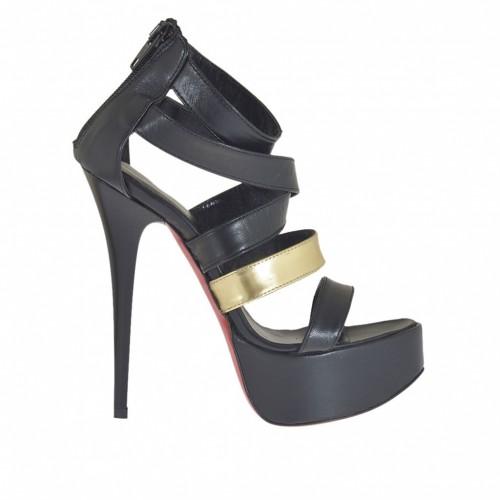 Chaussure ouvert pour femmes avec plateforme et fermeture éclair en cuir noir et cuir verni or talon 13 - Pointures disponibles:  32, 34, 43, 46
