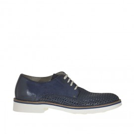 Laced men's shoes in blue pierced leather  - Available sizes:  37, 38, 50