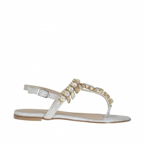 Woman's thong sandal with strass in silver and platinum laminated leather heel 1 - Available sizes:  33
