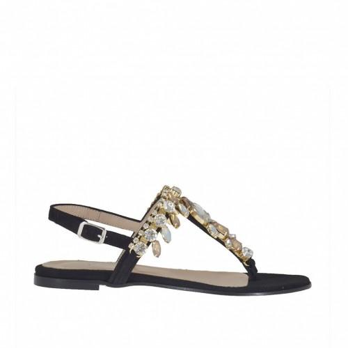 Sandale tong pour femmes avec strass en daim noir talon 1 - Pointures disponibles:  32