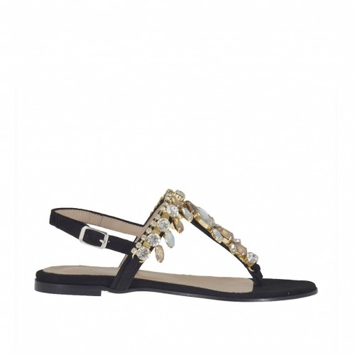 Woman's thong sandal with strass in black suede heel 1 - Available sizes:  32, 34