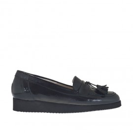 Woman's moccasin shoe with tassels in black patent leather wedge heel 2 - Available sizes: 34