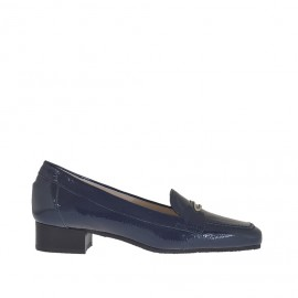 Woman's mocassin in blu patent leather with metal accessory heel 3 - Available sizes: 34, 42, 44, 46