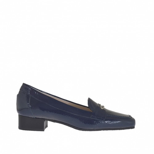 Woman's mocassin in blu patent leather with metal accessory heel 3 - Available sizes:  34, 46