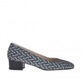 Woman's pump in black and white optical printed suede with varnished heel 3.5 - Available sizes: 42, 46