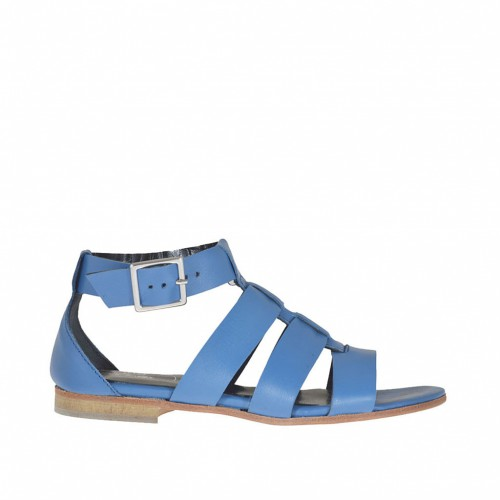 Woman's open shoe with strap and bands in blue leather heel 1 - Available sizes:  33, 42