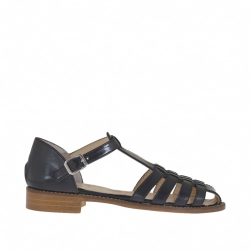 Woman's open shoe with strap and bands in black leather heel 2 - Available sizes:  44