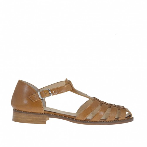 Woman's open shoe with strap and bands in tan-colored leather heel 2 - Available sizes:  42, 44