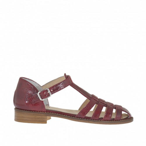 Woman's open shoe with strap and bands in plum maroon printed patent leather heel 2 - Available sizes:  33, 44, 45
