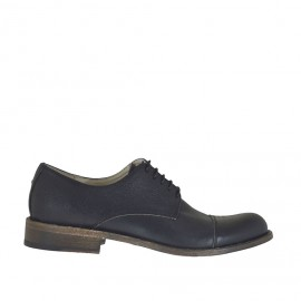 Men's elegant laced shoe with captoe in black leather - Available sizes:  37, 50