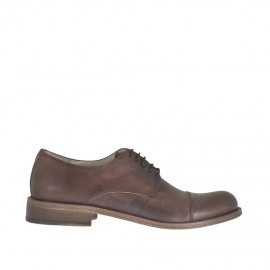 Men's elegant laced shoe with captoe in antiqued brown leather - Available sizes:  50