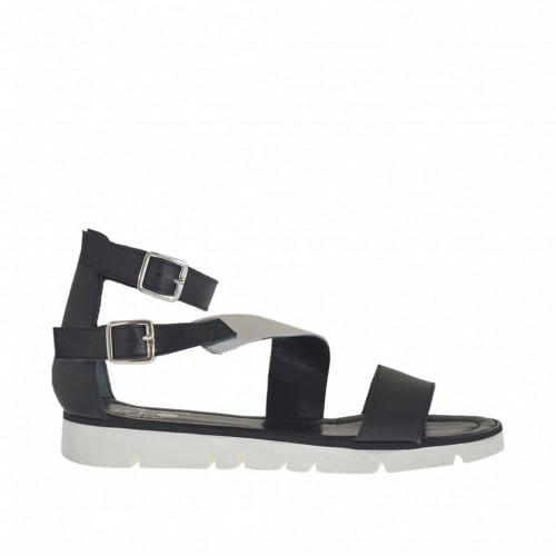 cuir noir en avec femmes ouvert pour boucles Chaussure courroies et ZFgppf