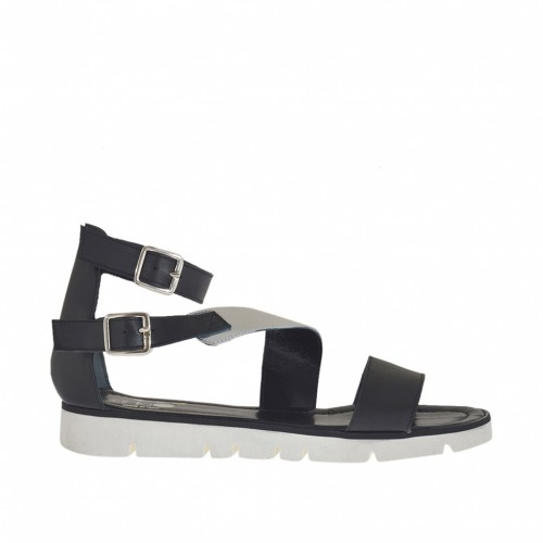 Woman's open shoe with straps and buckles in black and silver laminsted leather wedge heel 2 - Available sizes:  46