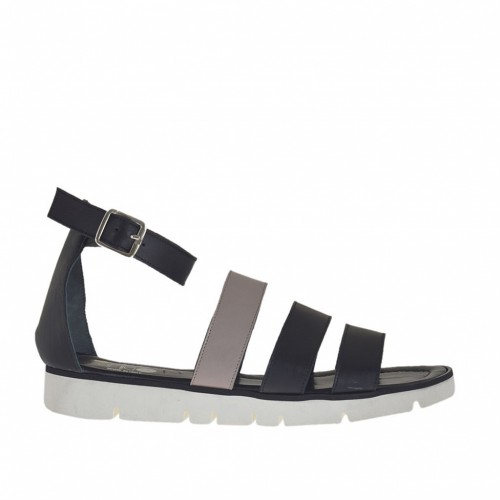 Woman's open shoe with strap and bands in black and taupe leather wedge heel 2 - Available sizes:  46