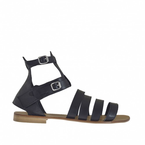 Woman's sandal with double ankle strap and bands in black leather heel 1 - Available sizes:  46