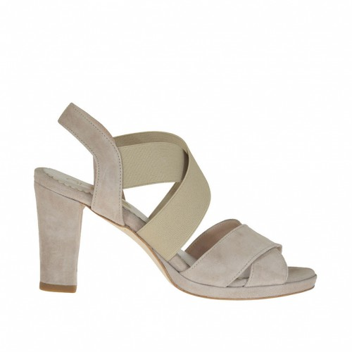 Woman's platform sandal with elastic bands in taupe suede heel 8 - Available sizes:  31, 44