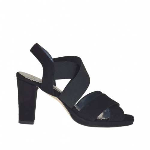 Woman's platform sandal with elastic bands in black suede heel 8 - Available sizes:  31