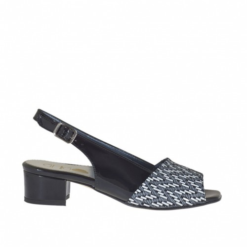 Woman's sandal in black patent leather and black suede with white optical print heel 3 - Available sizes:  33, 34