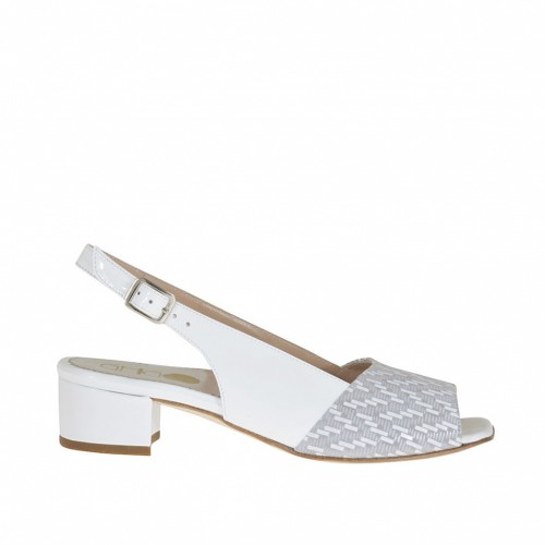Woman's sandal in white patent leather and grey suede with white optical print heel 3 - Available sizes:  34, 46