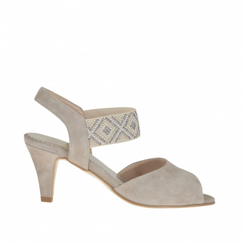Woman's sandal with design in golden, silver and gunmetal studs in taupe suede heel 6 - Available sizes:  31, 44