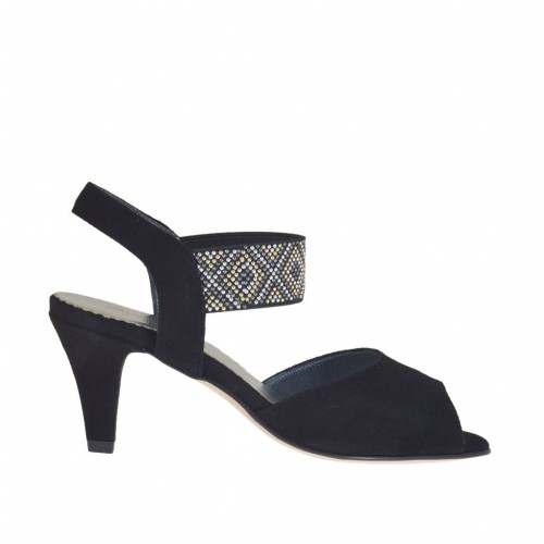 Sandale pour femmes avec dessin de doré, argent et bronze à canon goujons en daim noir talon 6 - Pointures disponibles:  32