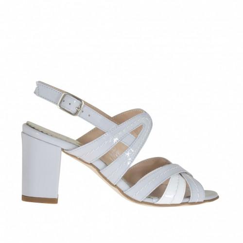 Sandale à bandes croisées en cuir verni gris et blanc talon 7 - Pointures disponibles:  32, 43, 44, 45