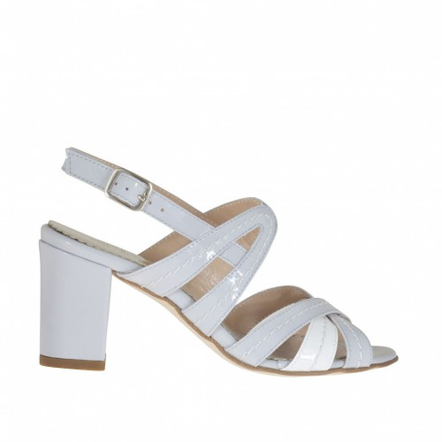 Woman's sandal with crossed straps in grey and white patent leather heel 7 - Available sizes:  32, 43, 44, 45