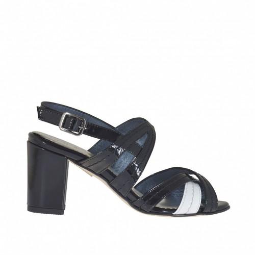 Sandale à bandes croisées en cuir verni noir et blanc talon 7 - Pointures disponibles:  42, 46