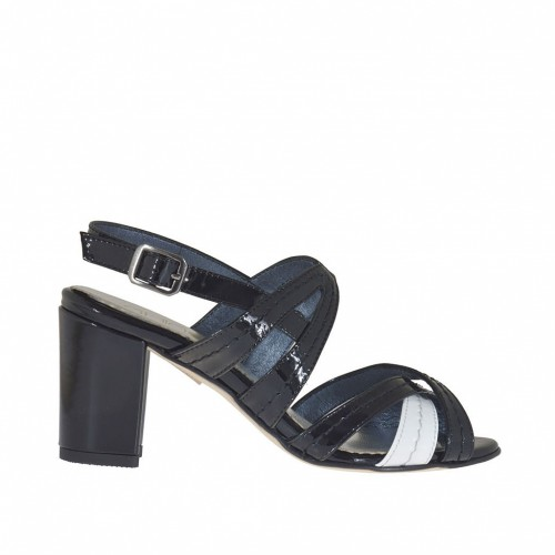 Woman's sandal with crossed straps in black and white patent leather heel 7 - Available sizes:  42, 44, 46