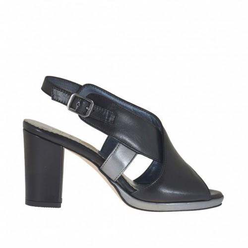 Sandale pour femmes avec bandes croisée et plateforme en cuir noir et bronze à canon talon 8 - Pointures disponibles:  31, 43, 44, 46